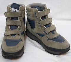 womens boots velcro ll bean blue grey velcro hiking winter boots size