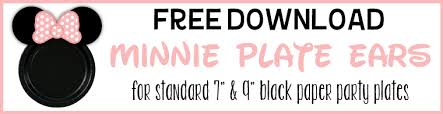 free printable minnie party plate ears parties