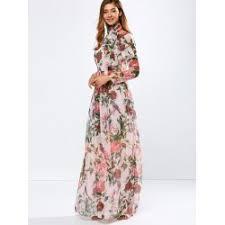 vintage chiffon long sleeve floral print floor length maxi prom