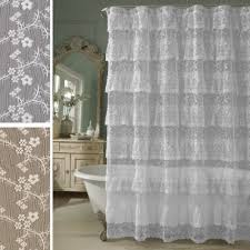 White Lace Shower Curtain by Bathroom Pink Gypsy Ruffle Curtains Pink Ruffle Shower Curtain