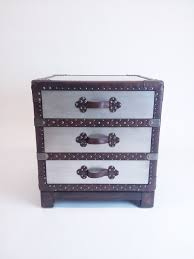 Silver Accent Table Silver Accent Trunk Side Table W Leather Straps Decor Nyc Store