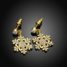 gold earrings for women images wholesale trendy 24k gold plated plant rhinestone dangle earrings