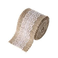 5cm wide x 2m roll linen lace with burlap ribbon rustic