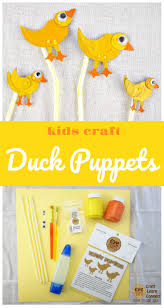 kids craft easy to make duck puppets using bendy straws