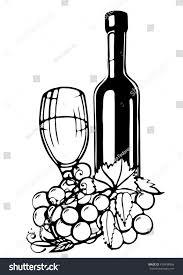 bottle wine grapes glass wine hand stock vector 419938996
