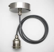 Fabric Pendant Light by Nickel Fabric Cable Edison Pendant Light Set Es E27 Vintage