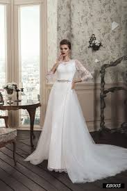 eb005 illusion long sleeve wedding dress with detachable train