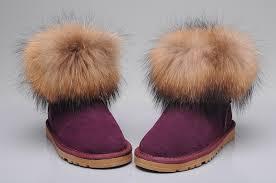 womens ugg boots fox fur style ugg 5854 fox fur boots mini purple boots