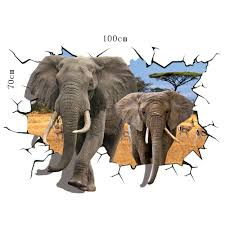 aliexpress com buy african animal elephant 3d through wall