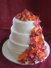 fall leaves wedding cake food photos