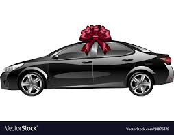 new car gift bow car with a bow as a gift royalty free vector image