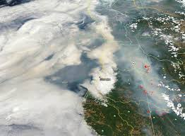 Wildfire Cali by Color Satellite Shows Ca Wildfire Smoke Spreading Over Pacific