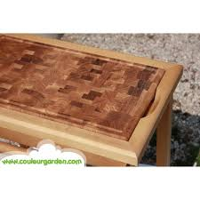 meuble billot de cuisine en bois debout couleur garden