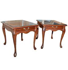 Mersman End Table Mersman Furniture Glass Top Mahogany End Tables Ebth