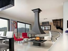 fancy hanging chimney on black center fireplace combine white