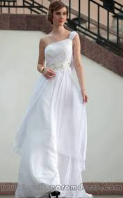 applique beaded one shoulder chiffon white prom dresses fits
