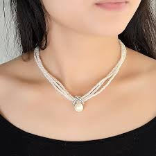 elegant choker necklace images Discount white pearl choker necklace classic three layers beads jpg