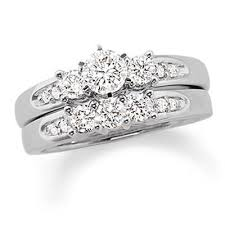bridal set wedding rings 2 ct diamond egagement ring and wedding band bridal set in 14