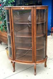 Ornate Display Cabinets Rare Vintage Tiger Oak Curved Glass Display Cabinet In Excellent