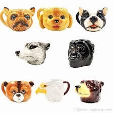 3d dog head ceramic mug cute puppy dog head coffee mug creative