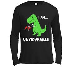 T Rex Meme Unstoppable - t rex dinosaur i am unstoppable t shirt xmas cool shirt long sleeve