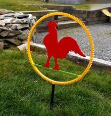 Sheet Metal Garden Art - recycled metal rooster lawn ornament garden sculpture red