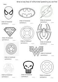 superhero symmetry rotation and reflection worksheet by teachersj