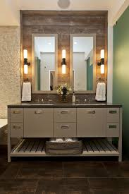 industrial vanity light bathroom contemporary with green double sink