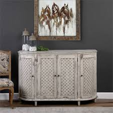 Curved Sideboard White Farmhouse Curved Sideboard Aged Eyelet Motif