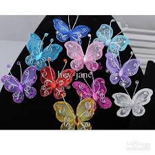 butterfly hair wholesalel fabric butterfly hair pin flower girl hair pin party