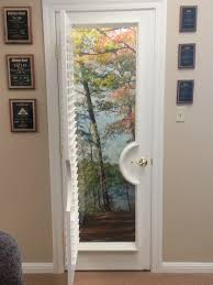 interior living room brown wooden door and window treatment with