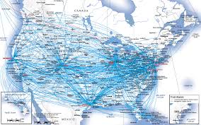 united airlines hubs airlines route map usa and canada