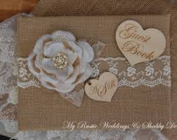 Shabby Chic Wedding Guest Book by Coral Guest Book Guest Book Rustic Guest Book Burlap Guest