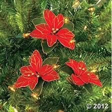 Red Glitter Christmas Decorations by Amazon Com Pack Of 12 Red Glitter Poinsettia Christmas Tree