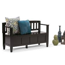 Entryway Storage Bench by Simpli Home Brooklyn Dark Coffee Storage Bench 3axcbroben The