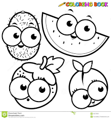 coloring book page fruit kiwi watermelon strawberry peach stock