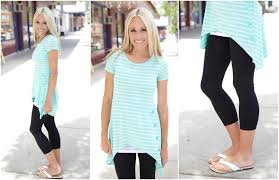 summer style capri shark bite striped top 28 99 black nylon capri leggings 8 99