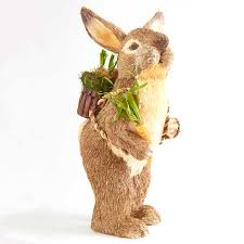 Rabbit Home Decor Sisal Bunny Rabbit With Backpack And Carrot This Standing Rabbit