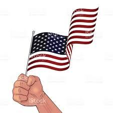 Waving American Flag Man Hand Holding Waving Usa Flag Stock Vector Art 591998798 Istock