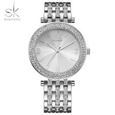 ladies silver bracelet watches images Shengke brand watches women dress crystal rhinestone silver jpg