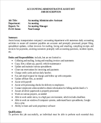 Accounting Assistant Job Description Resume by Accounting Administrative Assistant Cover Letter