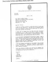 the letter in which rick perry praises hillary clinton for her