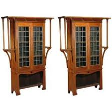 Oak Bookcases For Sale Arts And Crafts Style Oak Bookcase With Leaded Glass Doors For