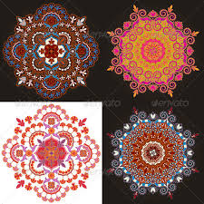 set of four radial geometric ornaments by blackspring graphicriver