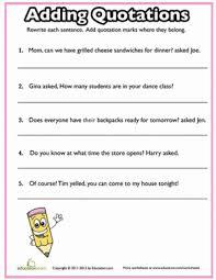 Quotation Marks Worksheet Quotation Marks Quiz 2 Worksheet Education Com