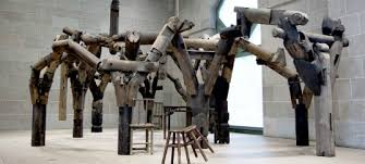 modern wood sculpture artists ai weiwei s fragments installation is made of wood reclaimed