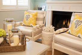 gray stripe accent chairs with yellow ikat pillows contemporary