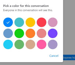 pick color change chat colors and the emoji in facebook messenger for web