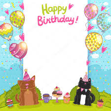 happy birthday card with cat dog and cupcakes u2014 stock vector