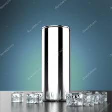 blank white energy drink can mock up with water splash ice cubes